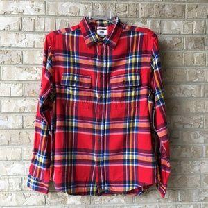 NWT Old Navy Red Plaid Flannel Regular Fit Flex M